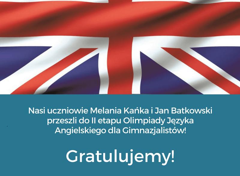 Sukces naszych uczniów w Ogólnopolskiej Olimpiadzie Języka Angielskiego dla Gimnazjalistów!